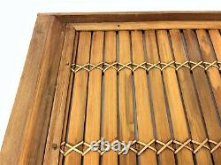 Vintage Bamboo Rattan Style Asian Drink Tray Wood Wooden Decorative Used