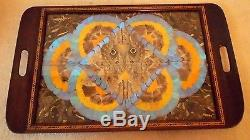 Vintage Brazil BUTTERFLY WING Inlaid Wood Decorative 24.5 x 15 Serving TRAY