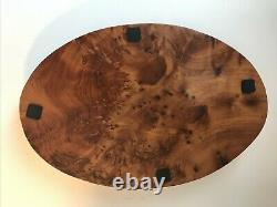 Vintage Burl Wood Hand Carved Oval Tray 14 1/2