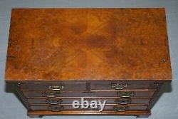 Vintage Burr Walnut Medium Sized Chest Of Drawers With Butlers Serving Tray