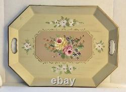 Vintage Butler Serving Tray on Folding Wood Stand Table Folk Art Floral 20