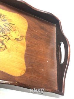 Vintage Butler Tray British Colonial Cherry Bird Wooden Serving Platter Decor