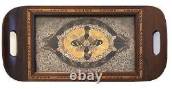 Vintage Butterfly/Moth Wing Inlaid Wooden Tea Serving Tray
