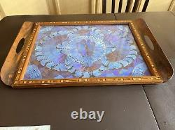 Vintage Butterfly Wing Art Wood Inlay Serving Tray Rio de Janeiro Brazil