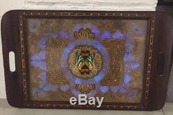 Vintage Butterfly Wing Art Wood Serving Tray Brazil 13 x 21