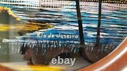 Vintage Butterfly Wing Round Wood Serving Tray Rio de Janeiro Brazil Charles