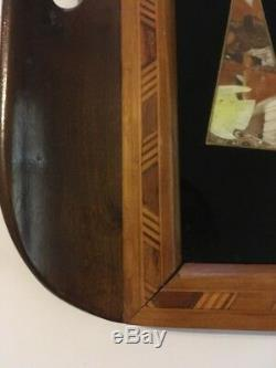 Vintage Butterfly Wing Serving Tray Iridescent with Inlaid Wood Rio de Janeiro