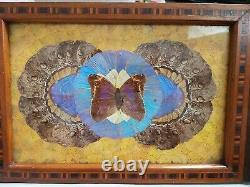 Vintage Butterfly Wing Serving Tray Platter Iridescent Blue, Inlaid Wood, Brazil