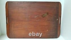 Vintage Butterfly Wing Wood Inlay Serving Tray Rio de Janeiro Brazil 21 x 13