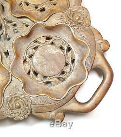 Vintage Carved Wood Footed Serving Tray 24 Long Floral Motif