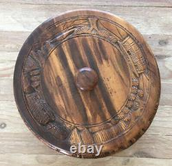 Vintage Carved Wood Lazy Susan & Cover, Tropical Tiki Bar Style Serving Tray Cake