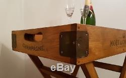 Vintage Champagne Side Table. Folding Wooden Portable Butler Drinks Serving Tray