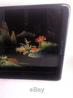 Vintage Chinese Lacquered WOOD Serving Tray Hand Painted GOLD Gilt Scene