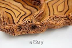 Vintage Coco Joe's Hapa Wood Serving Tray Hawaii Nut Bowl Dish Tree Design 9