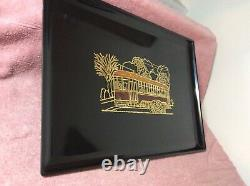 Vintage Couroc Monterey Trolley Cable Car San Francisco Brass & Wood Inlay Tray