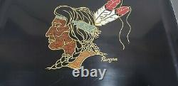 Vintage Couroc of Monterey Runyan Serving Tray Wood Stone Inlay Indian Head