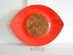 Vintage Dansk IHQ Lacquer Teak Wood Serving Tray Orange Eyeball RARE