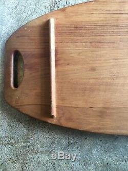 Vintage Dansk Teak IHQ Designer Wood Surfboard Tray Staved Serving Grazing Mod