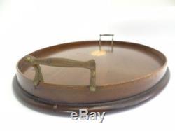 Vintage E. F. S. Maker Two Brass Handled Veneer Bar Serving Tray Platter Wood