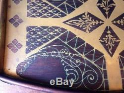 Vintage Erhard & Sohne Mahogany Brass inlay serving tray