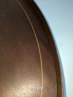 Vintage Federal Revival Mahogany Inlaid Banding Oval Serving Tray Brass Handles