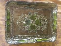 Vintage Florentine Gilt Painted Wood Serving Tray Italian Lot of 6