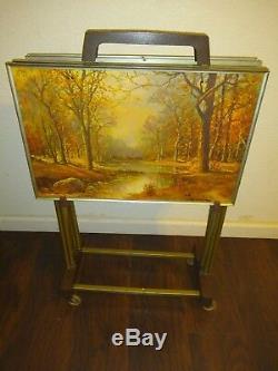 Vintage Folding TV Trays Four Seasons Scenic Metal Robert Wood Mid Century