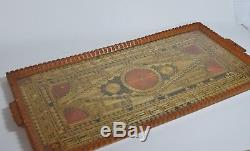 Vintage Greek Prisoners of War Made Wooden Serving Tray Mosaic Straw Geometric