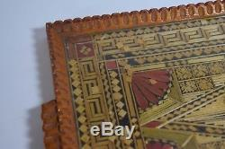 Vintage Greek Prisoners of War Made Wooden Serving Tray Mosaic Straw Geometric