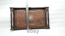 Vintage Hand Carved Inlay Wooden Serving Tray Serve Plate Platter Big Size MP