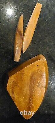 Vintage Hand Carved Teak Lazy Susan Serving Tray + Utensils Gorgeous