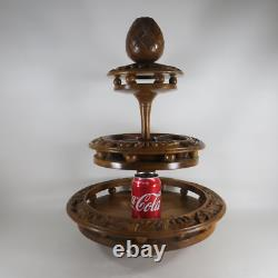Vintage Hand Carved Wood 3 Tier Monkey Pod Lazy Susan Rotating Serving Tray