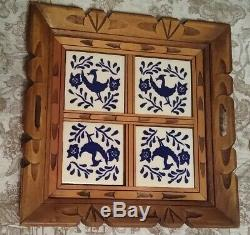 Vintage Hand Carved Wood Serving Tray Inlaid 4 White & Blue Bird Ceramic Tiles