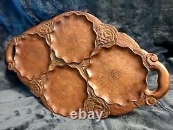 Vintage Hand Engraved & Carved Flower Oval Wooden Serving Tray 15
