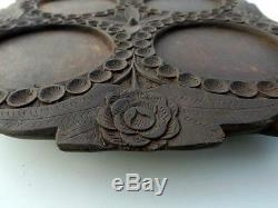 Vintage Hand Engraved Flower Carving Wooden Tray Old Hand Made Serving Tray