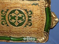 Vintage Hand Made Floral Papier Mache Tole Serving Tray