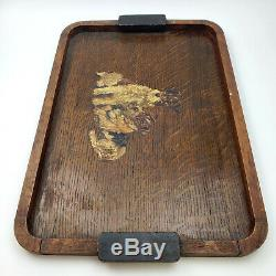 Vintage Hand Painted Primative Mission Oak Wood Serving Tray Fox Terrier SIGNED