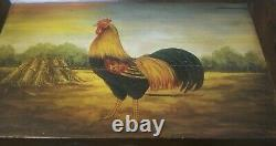Vintage Hand Painted Wood Serving Tray/Wall Art Rooster Design Indonesia 32x22