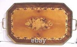 Vintage Handcrafted 21 X 12 Italian Marquetry Inlaid Wood Brass Frame Tray
