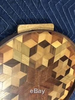 Vintage INLAID SERVING TRAY wood round art deco wooden handle mid century OP ART