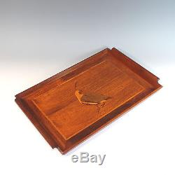 Vintage Inlaid Wood Serving Tray Bird/Quail