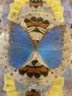 Vintage Iridescent Butterfly Wings Marquetry Wooden Serving Tray