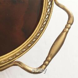 Vintage Italian Florentine Wood Floral Inlaid Oval Serving Platter Tray