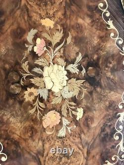 Vintage Italian Hand Laid Wood and Brass Serving Tray with Floral Design