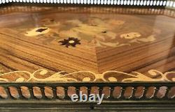 Vintage Italian Inlaid Wood Marquetry Serving Tray Ornate Brass Edging Handles