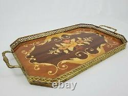 Vintage Italian Inlaid Wood Tray Marquetry With Brass Gallery And Handles 16.5