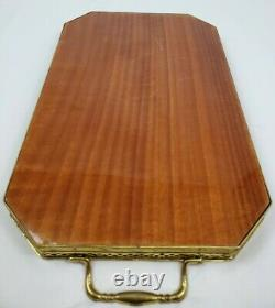 Vintage Italian Marquetry Inlaid Wood Tray With Brass Gallery And Handles 16.5