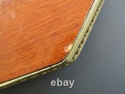 Vintage Italian Marquetry Wood and Brass Inlaid Serving Gallery Tray Italy