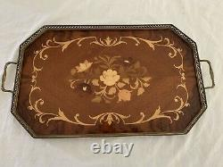 Vintage Italian Serving Tray Inlaid Wood Floral Brass Trim 21 Wooden