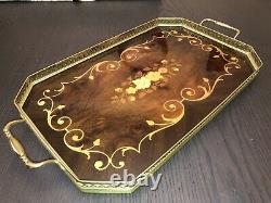 Vintage Italian Sorrento Inlaid Marquetry Wood And Brass Tray